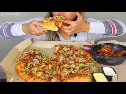 Asmr Pizza Hut Supreme Pizza And Garlic Wings Eating Sounds Youtube