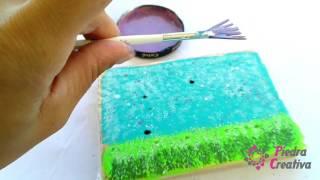 Como hacer el salpicado del cuadro de cerditos en piedras pintadas