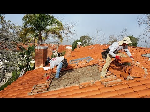 Spanish tile roofing and mold damage decking repair