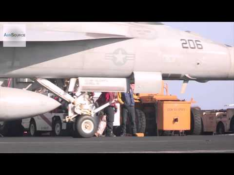 Air Strike On ISIS   Flight Deck Operations Aboard U S  Aircraft Carrier
