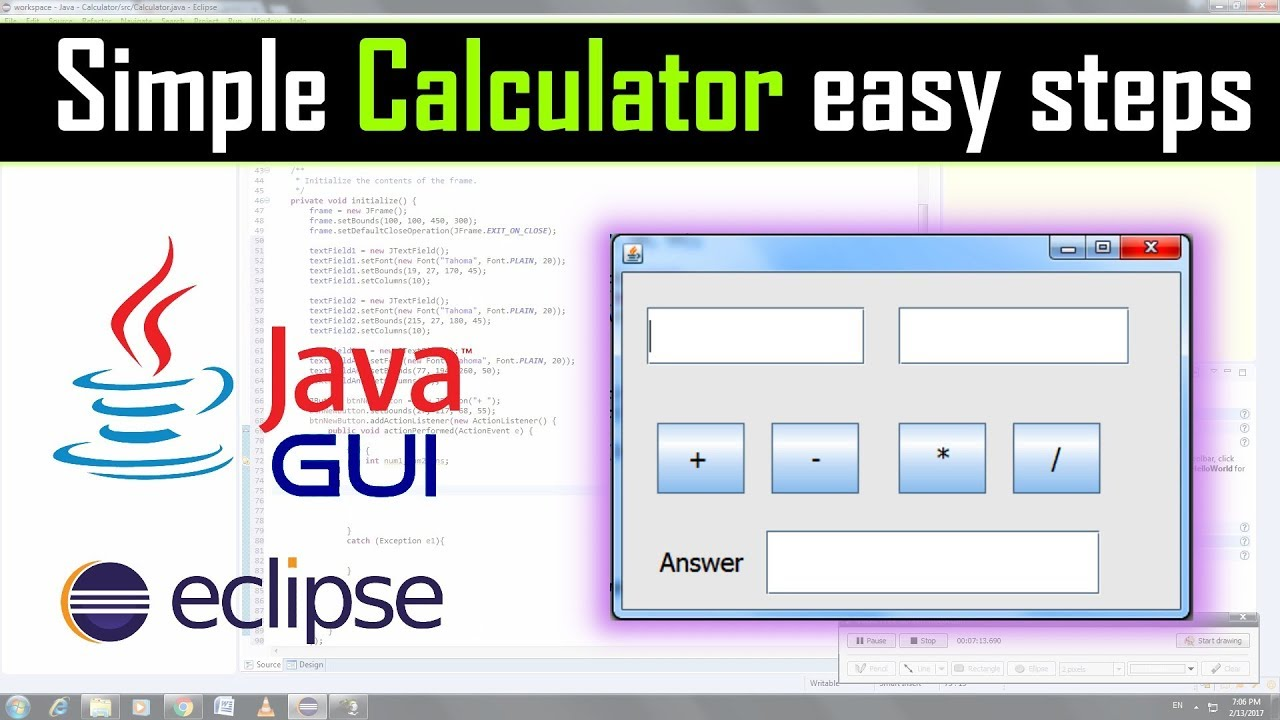 Simple calculator using java gui in eclipse - YouTube