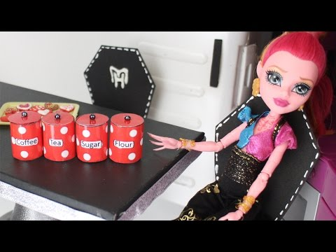 How to make doll food canisters kitchen accessories- Doll Crafts - simplekidscrafts