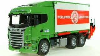 scania r series container truck with forklift bruder 03580 muffin songs toy review