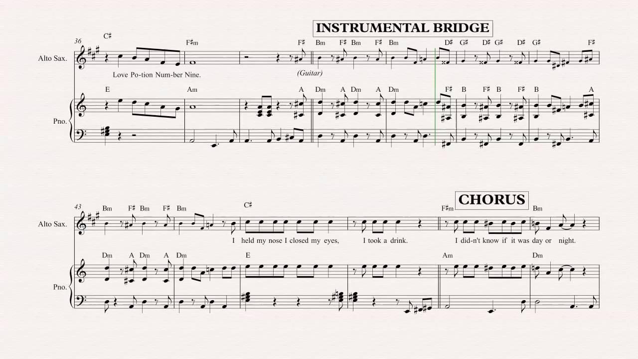 Alto Sax Love Potion No 9 The Searchers Sheet Music Chords