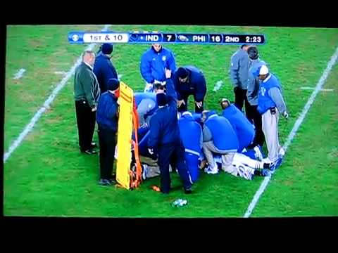 Austin Collie Injured on Big Hit .. Eagles vs. Colts 2010