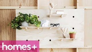 DIY IDEA: Plywood pegboard shelf - homes+