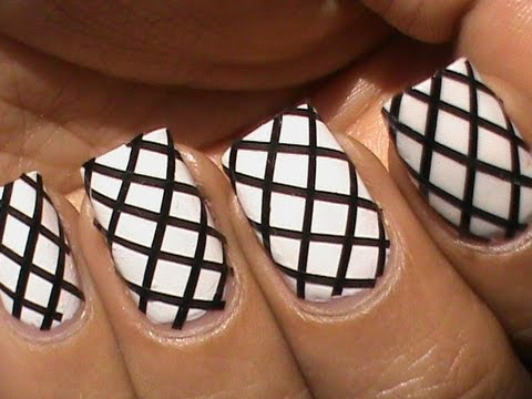 Fishnet Nail Art Designs With Striping Tape Youtube