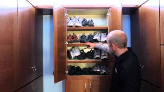 Custom Walk-in Closet With Cherry Bridgewood Cabinets In Haven Door Style
