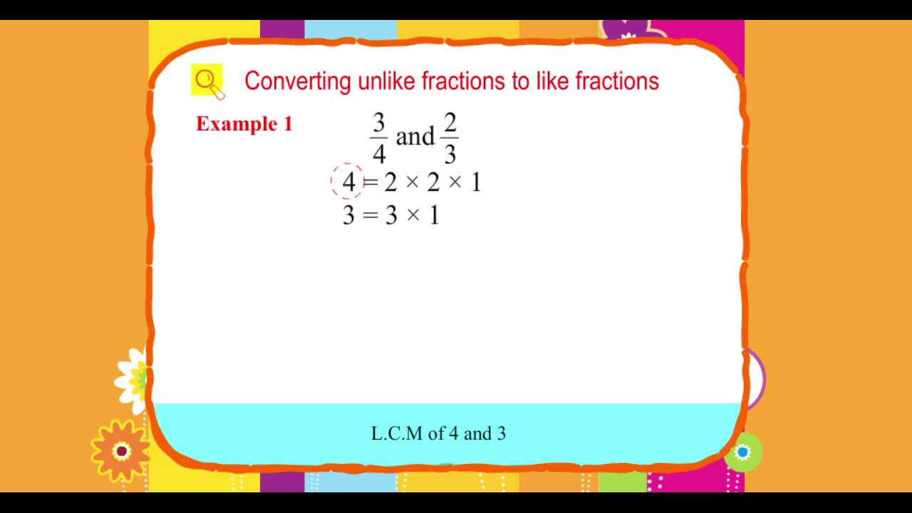 Explore Math Class 4, Unit 07, 12 Converting unlike fractions to like  fractions