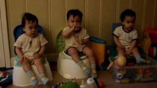 Triplets' Happy Potty Training