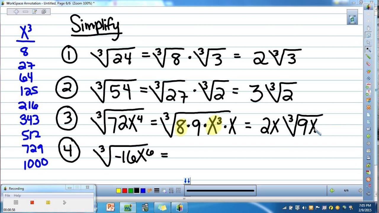 Advanced Algebra 1 7 3 Multiplying Radical Expressions