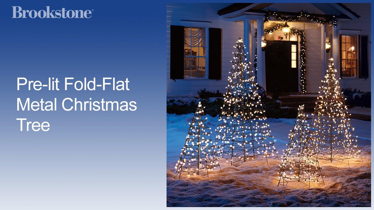 Prelit FoldFlat Metal Christmas Tree  YouTube