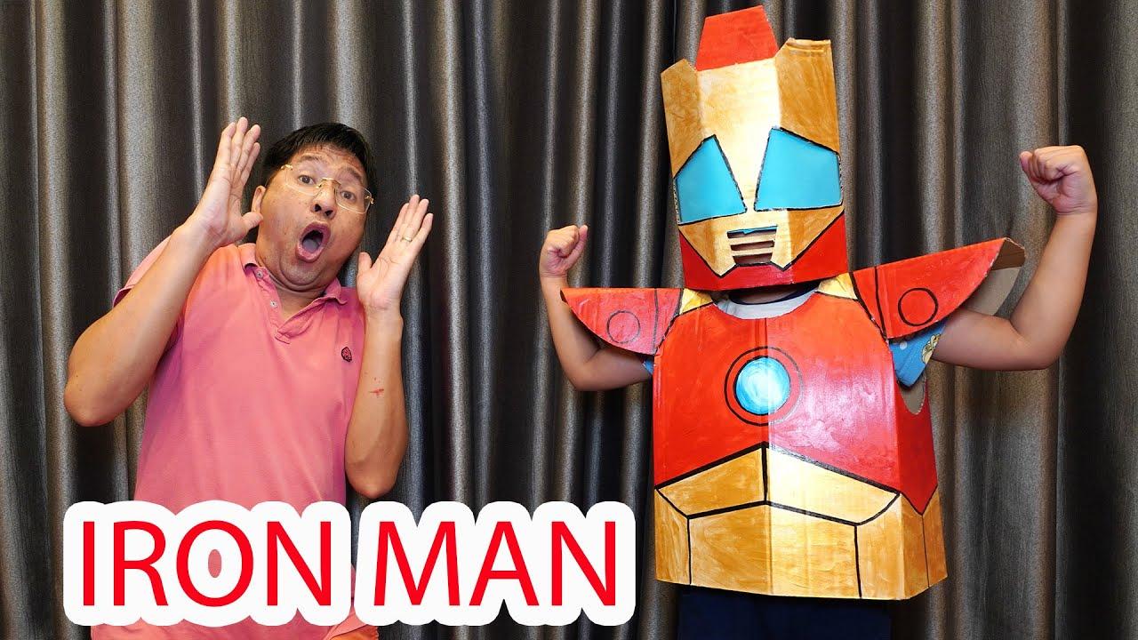 Bé Bún – Bé Bắp | 100% Áo Giáp Người Sắt Bằng Bìa Carton - DIY iron man armor with cardboard