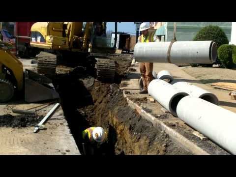 Laying storm drain