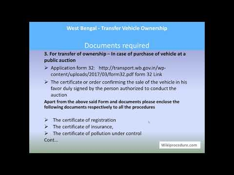 West Bengal - Transfer Vehicle Ownership