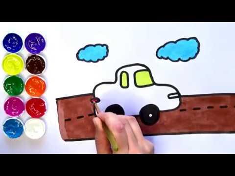 Dibuja Y Colorea Un Auto En Carretera Dibujos Para Niños Amiguitos123