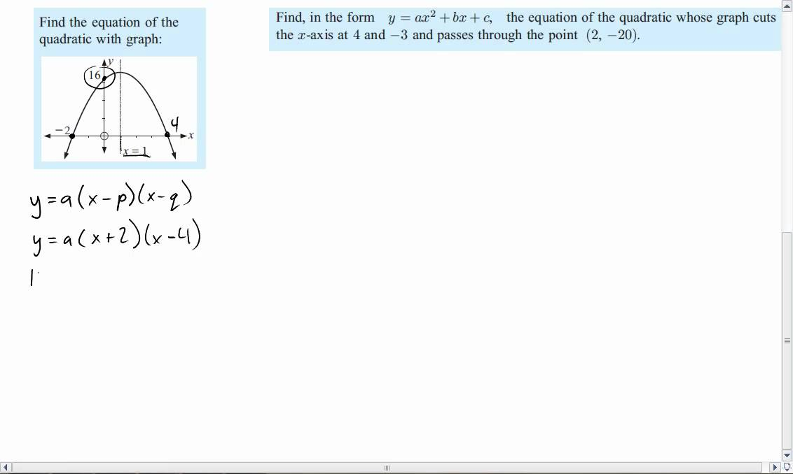 5 minute math writing quadratic equations from graphs