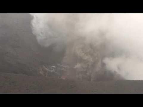 Tanna volcano eruption with loud sound