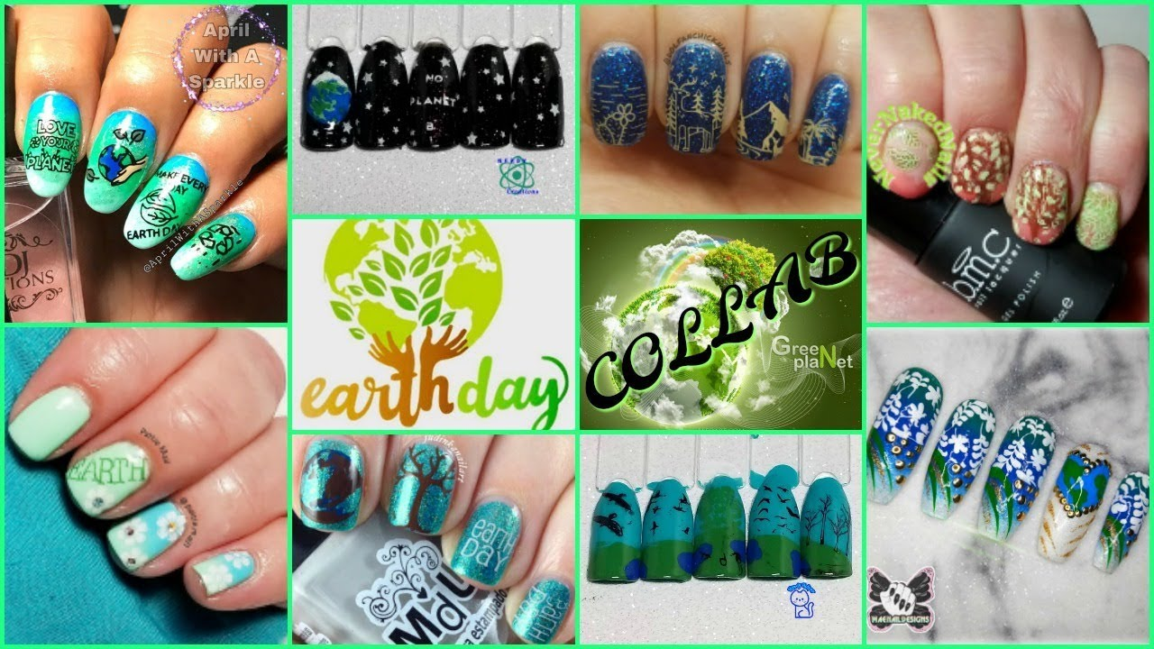 How To - Earth Day Nail Art Stamping Tutorial (Facebook Collab ...