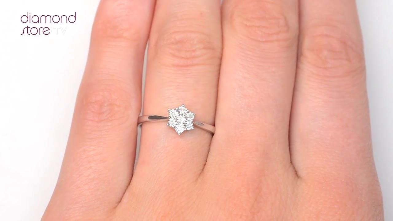 Diamond 0.04ct 9K White Gold Cluster Ring - E5885 - YouTube