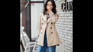 Женская ветровка средней длины приталенная куртка для женщин 2020 весенняя классическая двубортная