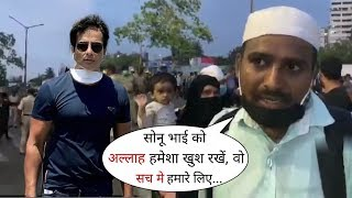 Sonu Sood's Get lots of blessing from Many Migrant Workers at Bandra Station   Watch a Man Reaction