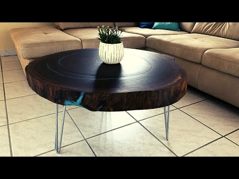 Cookie slab epoxy coffee table with waterfall - Unknown lumber - DIY