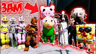 All Animatronics VS IMPOSSIBLE HARD 3AM Horror Monster Army! (GTA 5 Mods FNAF RedHatter)