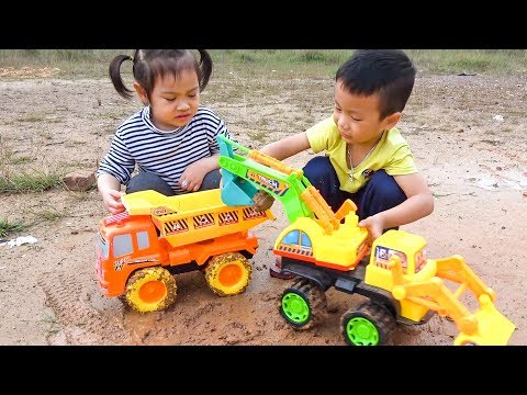 Car For Kids Excavator & Dump Trucks Pretend Play Outdoor With Dave Mario And Brother