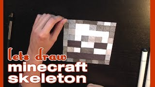 How to Draw Minecraft Skeleton in Pencil and Marker