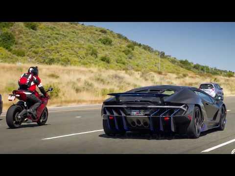 Lamborghini Centenario and Pagani Huayra run with Ducati 899