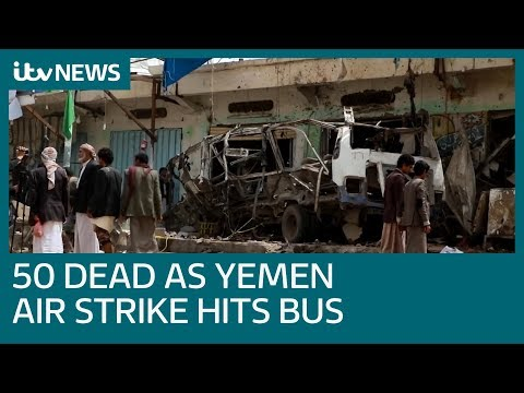 At least 29 children among 50 dead in Yemen airstrike | ITV News