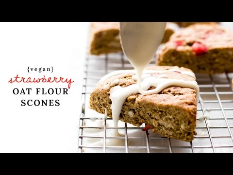 Oil-Free Vegan Strawberry Scones {with Oat Flour!}