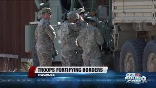 Soldiers take on fortifying border, awaiting migrant caravan