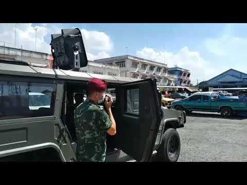ลพบุรี-ทหารใช้เครื่องขยายเสียงเคลื่อนที่ประชาสัมพันธ์ประชาชนตระหนักโควิดระลอก3