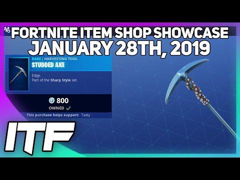 Fortnite Item Shop STUDDED AXE IS BACK! [January 28th, 2019] (Fortnite Battle Royale)