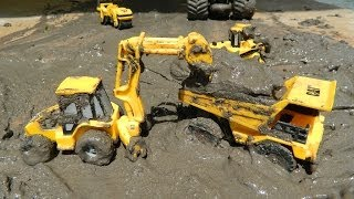 Toy Trucks In Mud - Cat Construction Trucks