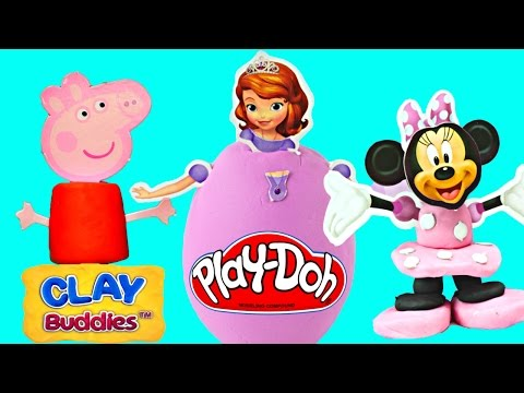 Surprise Clay Buddies Eggs Disney Princess Minnie Mouse Peppa Pig Pixar Cars Play Doh Surprise Egg