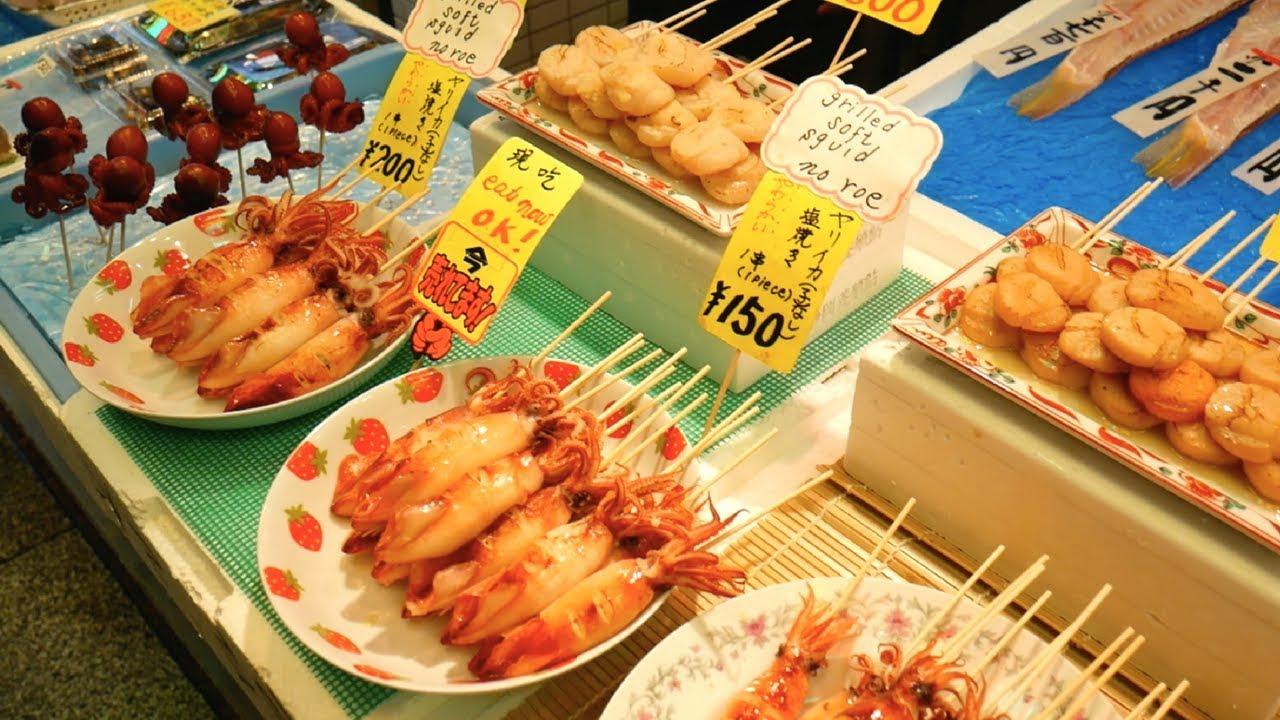 Japanese Street Food Tour Nishiki Market Kyoto Japan Youtube