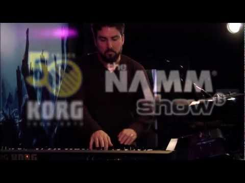 Korg at NAMM 2013- Derek Sherinian with the Kronos Music Workstation and KingKorg Synthesizer