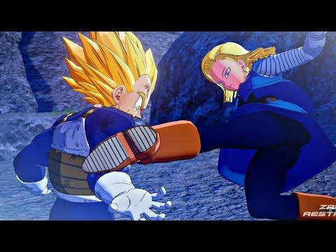 Dragon Ball Z: Kakarot - Super Saiyan Vegeta vs Android 18 Scene (DBZ Kakarot 2020) PS4 Pro