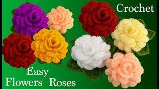 Como hacer rosas flores 3D con hojas a Crochet con una tira tejido tallermanualperu