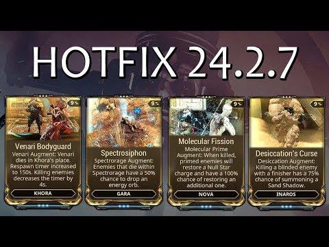 Warframe - Hotfix 24.2.7 - New Augments (Khora, Nova, Inaros & Gara) thumbnail