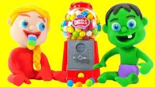 SUPERHERO BABIES PLAY WITH A GUMBALL MACHINE ❤ Spiderman, Hulk & Frozen Play Doh Cartoons For Kids thumbnail
