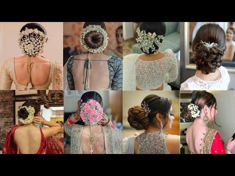 Bridal floral bun Hairstyle | Brides juda| Bridal gajra ...