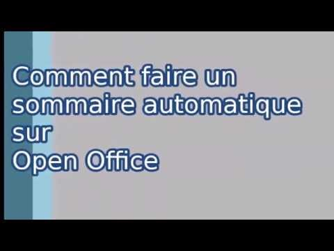 Comment faire un sommaire automatique sur open office - Comment faire un organigramme open office ...
