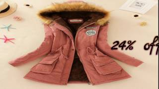 Winter Jacket Women Faux Fur Collar Women