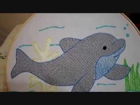 Bordado Fantasa Delfin Terminado  YouTube