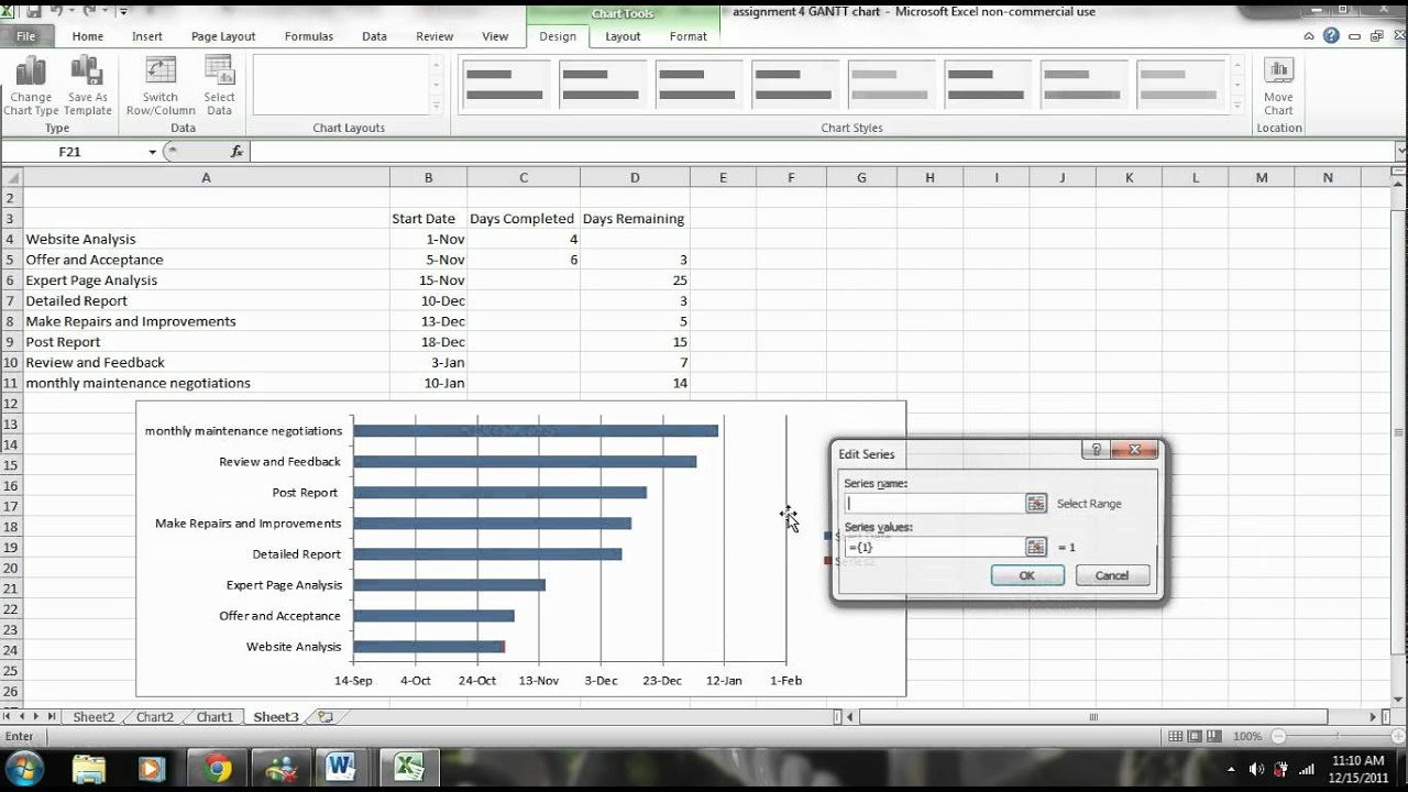 Excel tutorial how to create a gantt chart with microsoft excel excel tutorial how to create a gantt chart with microsoft excel 2007 2010 2013 youtube nvjuhfo Choice Image