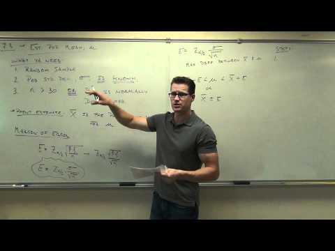 Statistics Lecture 7.3: Confidence Interval for the Sample Mean, Population Std Dev -- Known